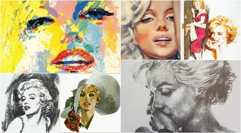 Collection of painted photos of Marilyn Monroe