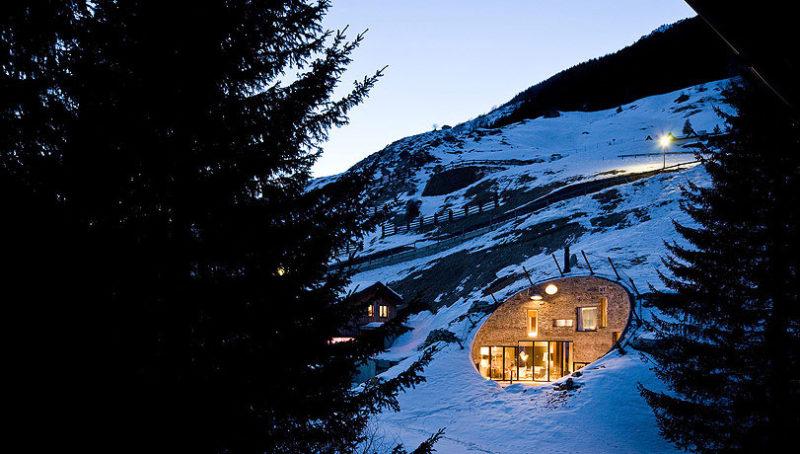 Houses build inside hills